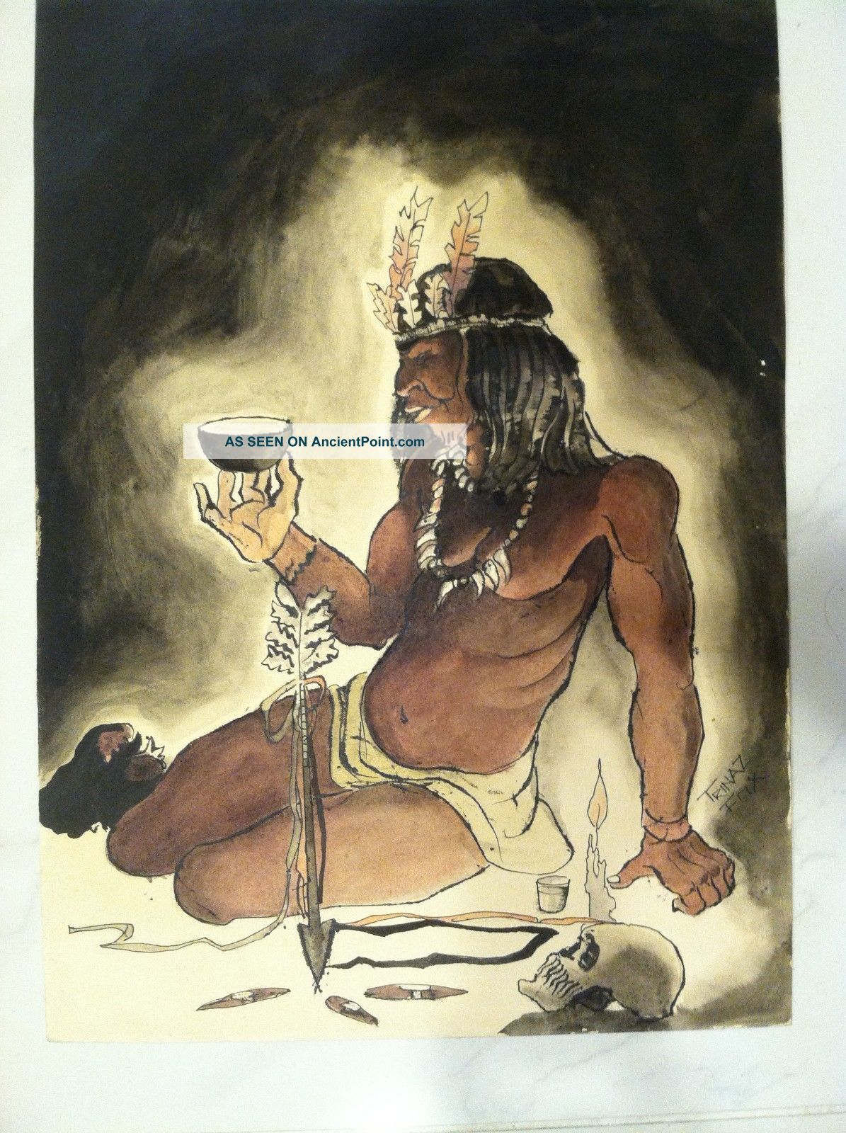 H/painted Watercolor American Indian Dreaming Man Trinaz Fox Signed Native American photo