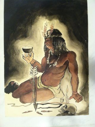 H/painted Watercolor American Indian Dreaming Man Trinaz Fox Signed photo