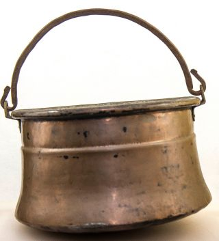 Antique Old Hammered Hanging Copper Pot Cauldron Kettle Wrought Iron Handle photo