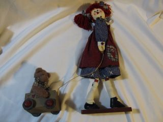 Primitive Prim Folk Art Raggedy Ann Doll Figure With Bear In Wagon Look photo