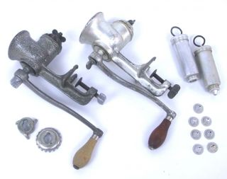 2 Vintage Universal Hand Crank Meat Grinder No 1 & 2 Usa Cast Iron photo