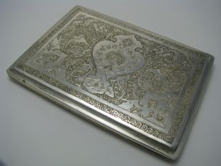 A Handcrafted Persian Solid Silver Cigarette Case 84 Silver Ca1900s Excel Cond photo