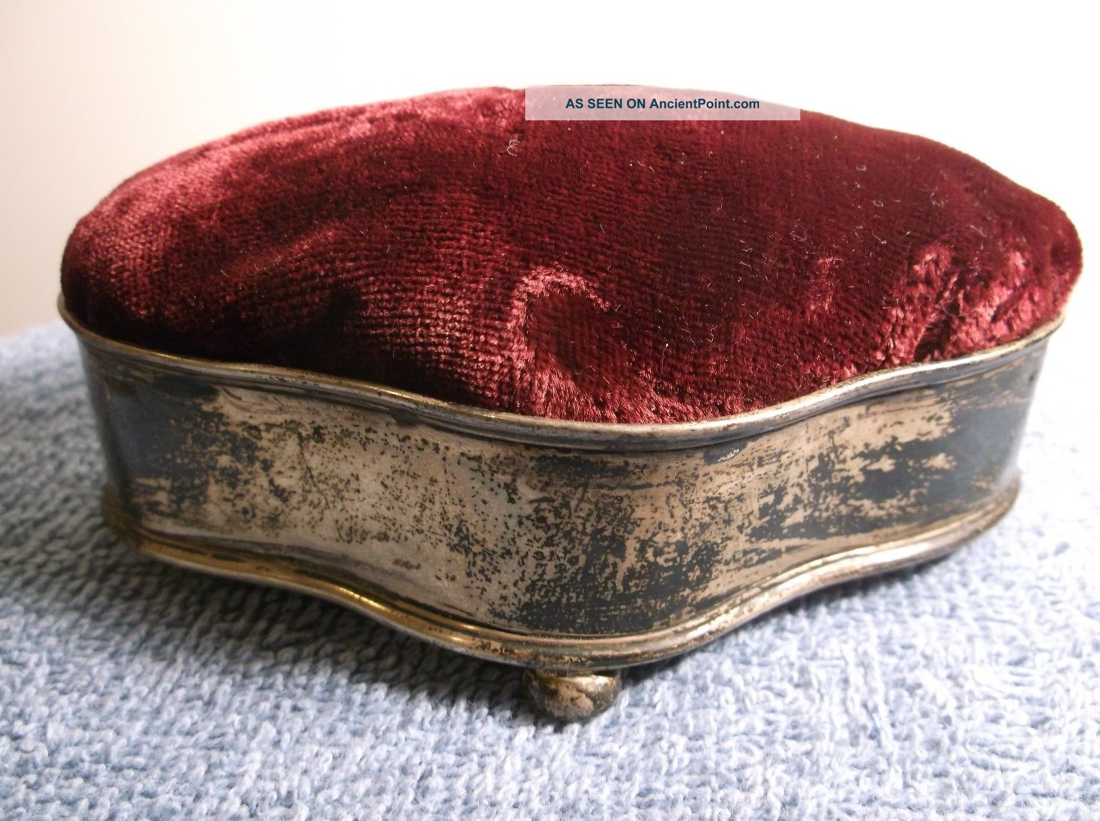 Large Size Antique Silver With Pad Pin Cushion Halmarked Tarnished Other photo