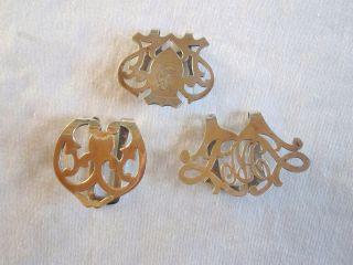 3 Antique Edwardian Sterling Silver Napkin Clips Webster Rogers Lunt Bowlen photo