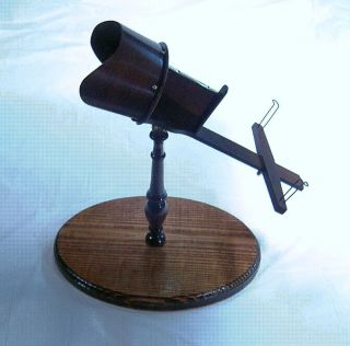 1874 Antique Rosewood Quirolo Styled Stereoscope + Stand And Stereoviews photo