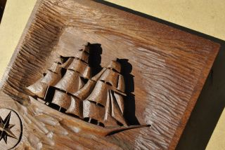 Vintage Pair Whaling Ship Naval Wooden Folk Art Bas Relief Carving American Navy photo