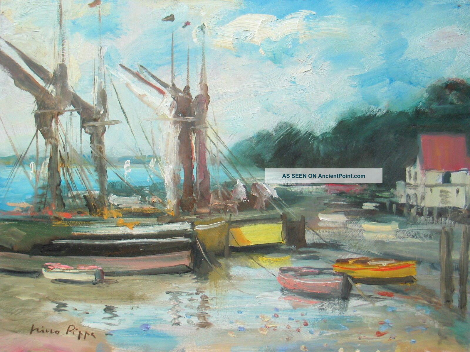 U K Norfolk Barges At Low Tide Painting By Well Listed American Impressionist Other photo