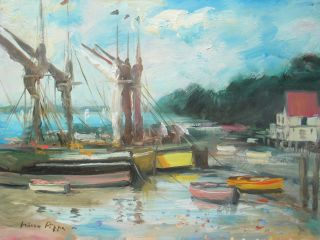 U K Norfolk Barges At Low Tide Painting By Well Listed American Impressionist photo