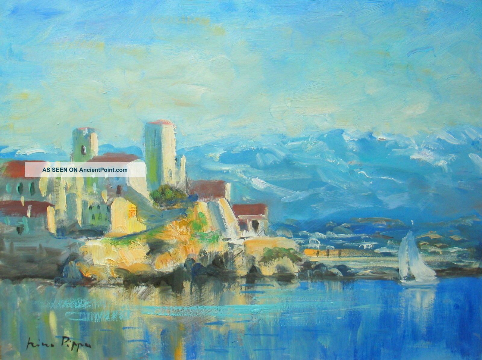French Riviera Oil Painting By Listed American Impressionist Artist Other photo