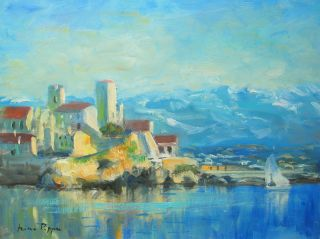 French Riviera Oil Painting By Listed American Impressionist Artist photo