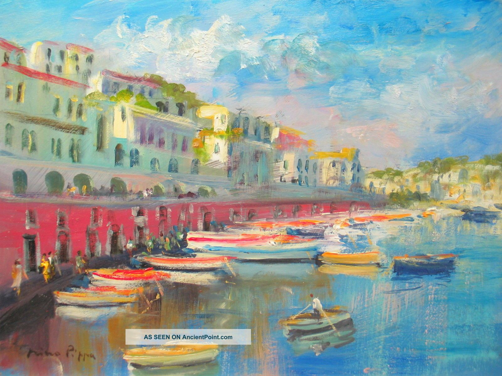 Sorolla Interest Oil Painting Of Ponza Italy Listed American Impressionist 9