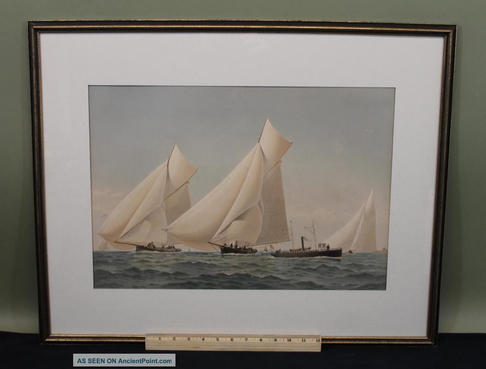 19thc Antique Frederic Cozzens Lithograph American Yachts Newport Ri Seascape Other photo