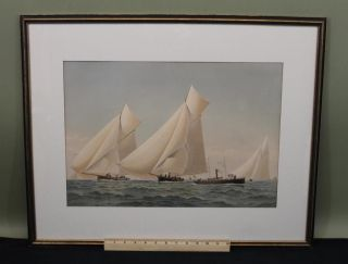 19thc Antique Frederic Cozzens Lithograph American Yachts Newport Ri Seascape photo