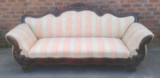 Antique Heavy Carved Victorian Flame Mahogany Sofa Upholstered Griffins Floral photo