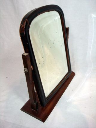 Antique Vintage Large Vanity Dressing Tabletop Shaving Wooden Swivel Mirror photo