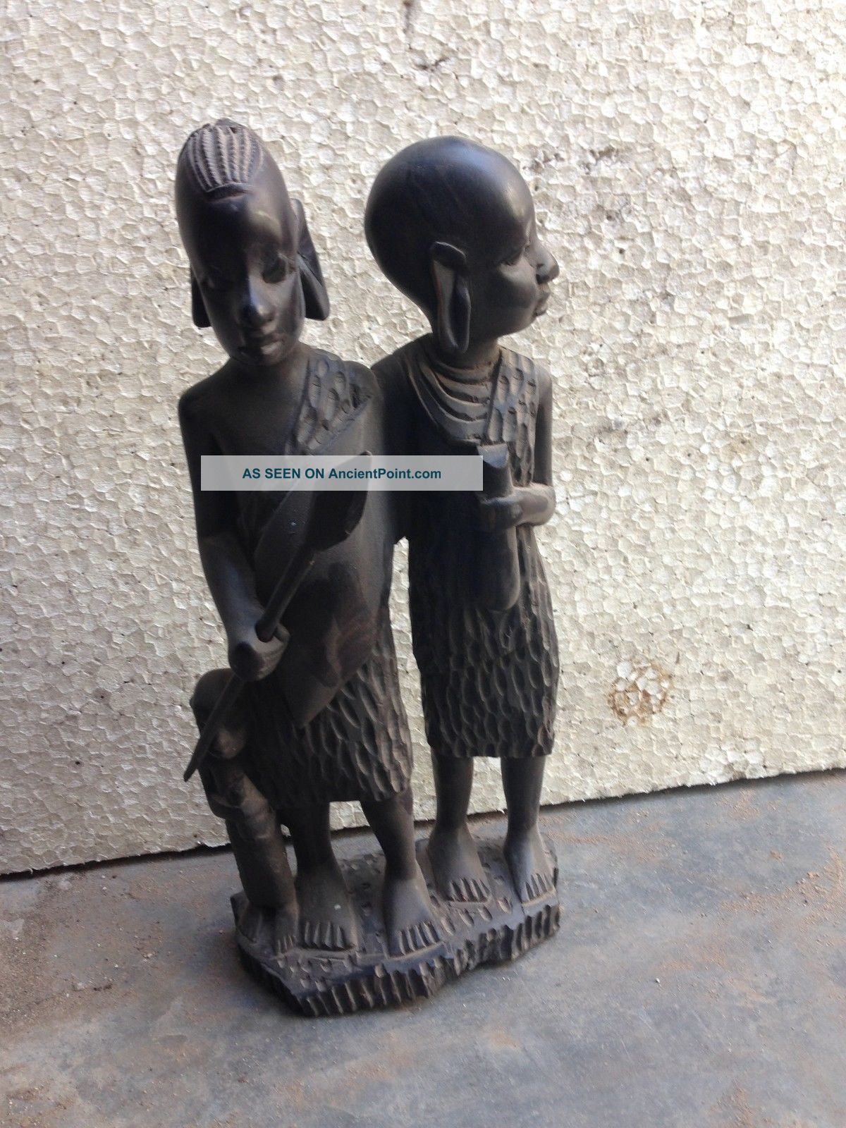 Vintage Antique Rare Rosewood Man And Woman Figure Figurine African Tribal Art Sculptures & Statues photo