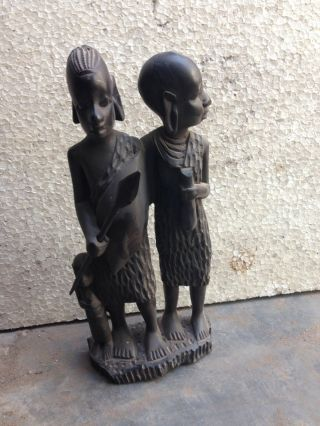 Vintage Antique Rare Rosewood Man And Woman Figure Figurine African Tribal Art photo