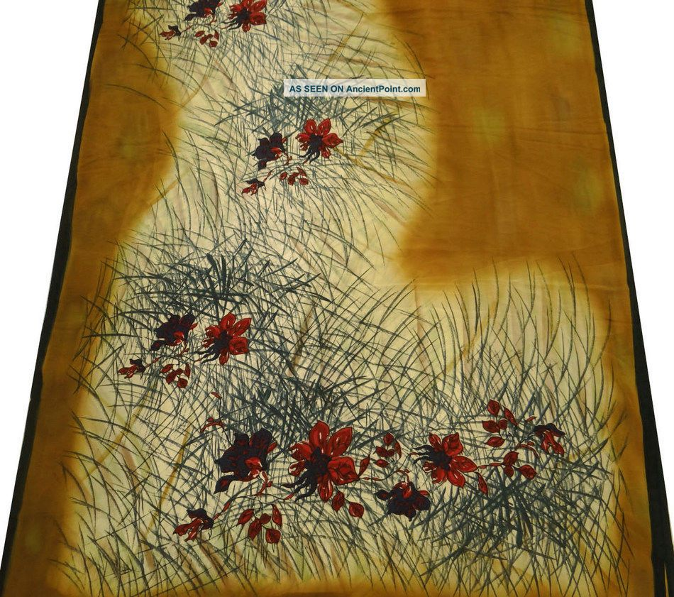 Vintage Saree Polye Crepe Silk Floral Printed India Sari Fabric Beige Craft Home Other photo