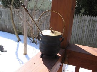 Old Metal Cast Iron Brass Cauldron Shaped Fireplace Starter Smudge Pot photo
