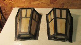 2 Arts & Crafts Slag Glass Porch Lights photo