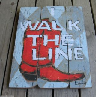Wood Red Cowboy Cowgirl Boot Picture Sign Primitive Western Country Style Decor photo