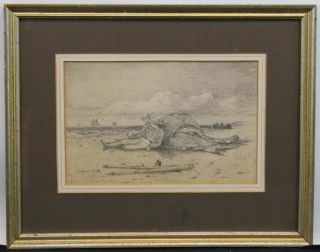 19thc Antique Maritime Beach Pencil Sketch Drawing For Painting,  Sailors,  Ships, photo