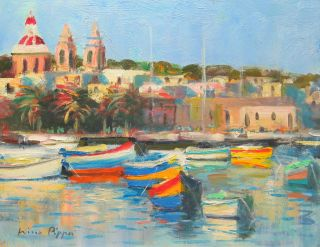 Well Listed American Impressionist Oil Painting Of Malta Village 8 X 10 photo