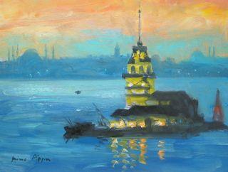 Oil Painting By American Artist Istanbul Orientalist Art Coa Nr 8