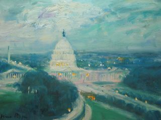 Oil Painting Of Washington Dc Well Listed American Impressionist 9x12 photo