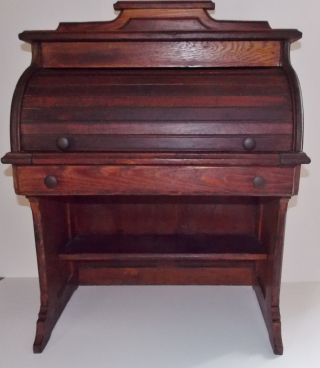 Antique Child ' S Oak Tambour Roll Top Desk W/one Drawer - Pull Out Writing Ext photo