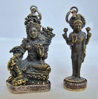 2 Vintage ? Tibetan Or Indian Brass Maitreya,  Buddha Or Bodhisattva Pendants photo