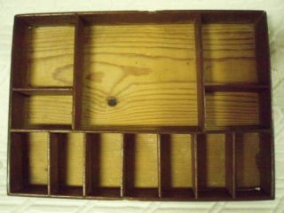 Antique Wood/ Wooden Tray With Compartments photo