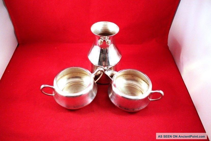 Elegant Vintage Set Of 3 Silverplate Kitchenware Sugar Creamer & Carafe Creamers & Sugar Bowls photo