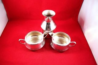 Elegant Vintage Set Of 3 Silverplate Kitchenware Sugar Creamer & Carafe photo