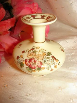 Zsolnay Vntg Miniature Hand Painted Porcelain Floral Vase Trimmed With 24k Gold photo