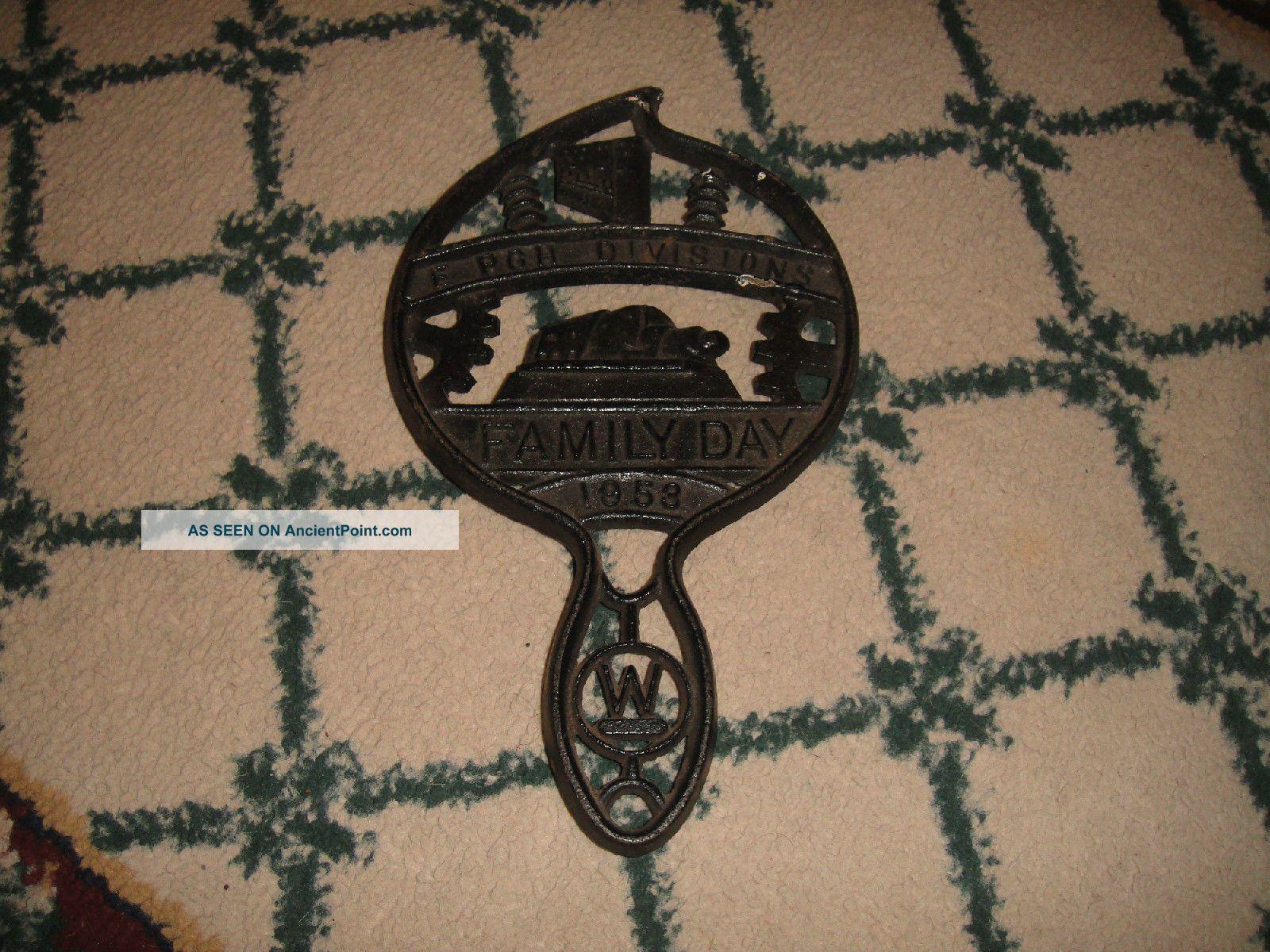 Vintage Cast Iron Trivet - Epgh Divisions Family Day 1953 - Rare - Gears - Machine Shop Trivets photo