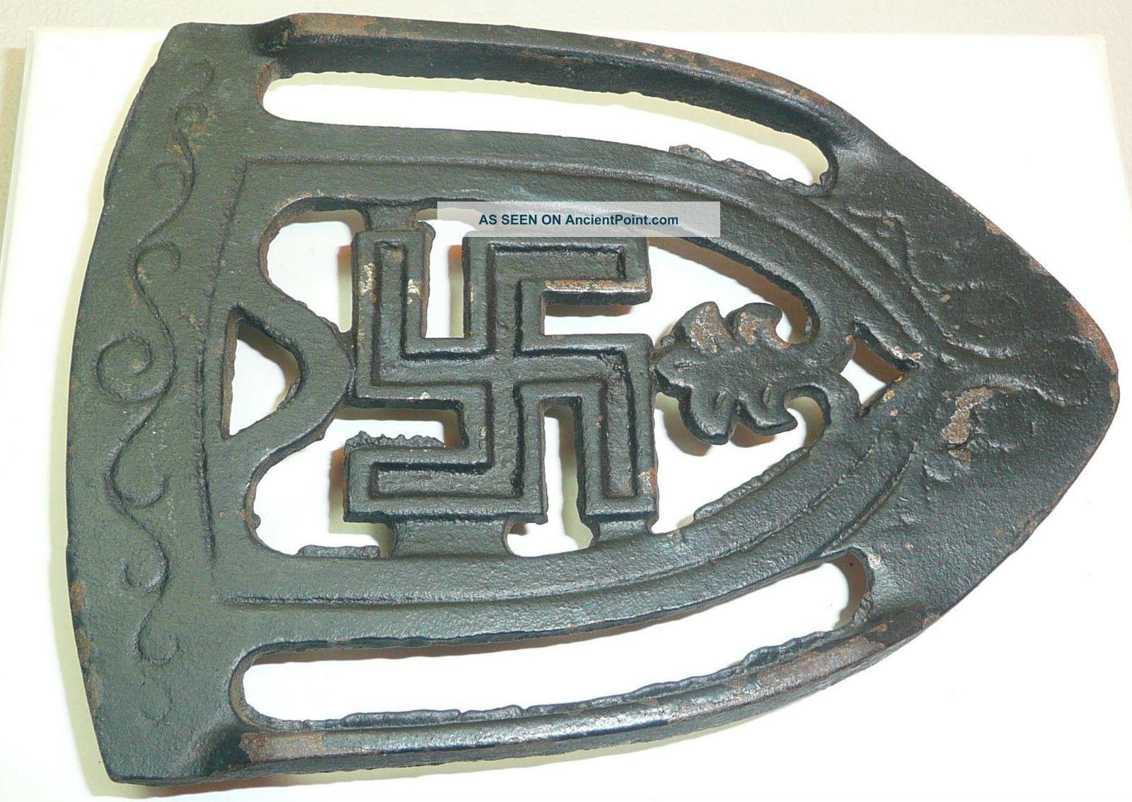 Antique Cast Iron Swastika Good Luck Trivet Early 1900s Era Pre - Ww2 Scroll Rare Trivets photo