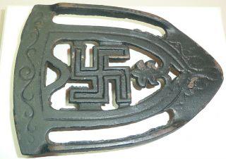 Antique Cast Iron Swastika Good Luck Trivet Early 1900s Era Pre - Ww2 Scroll Rare photo
