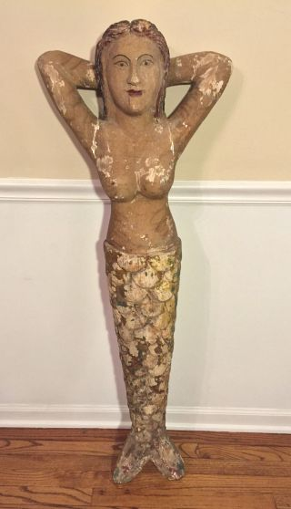 Antique Large Wood Mermaid Ship Figurehead Folk Art Piece photo