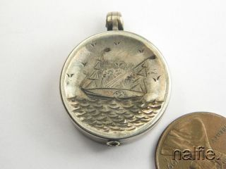 Antique English Late Victorian Silver Paddle Steamer Compass Fob Locket C1892 photo