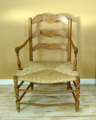 Antique 1800 ' S Handcrafted Maple Rush Bottom Chair Local Pick Up photo