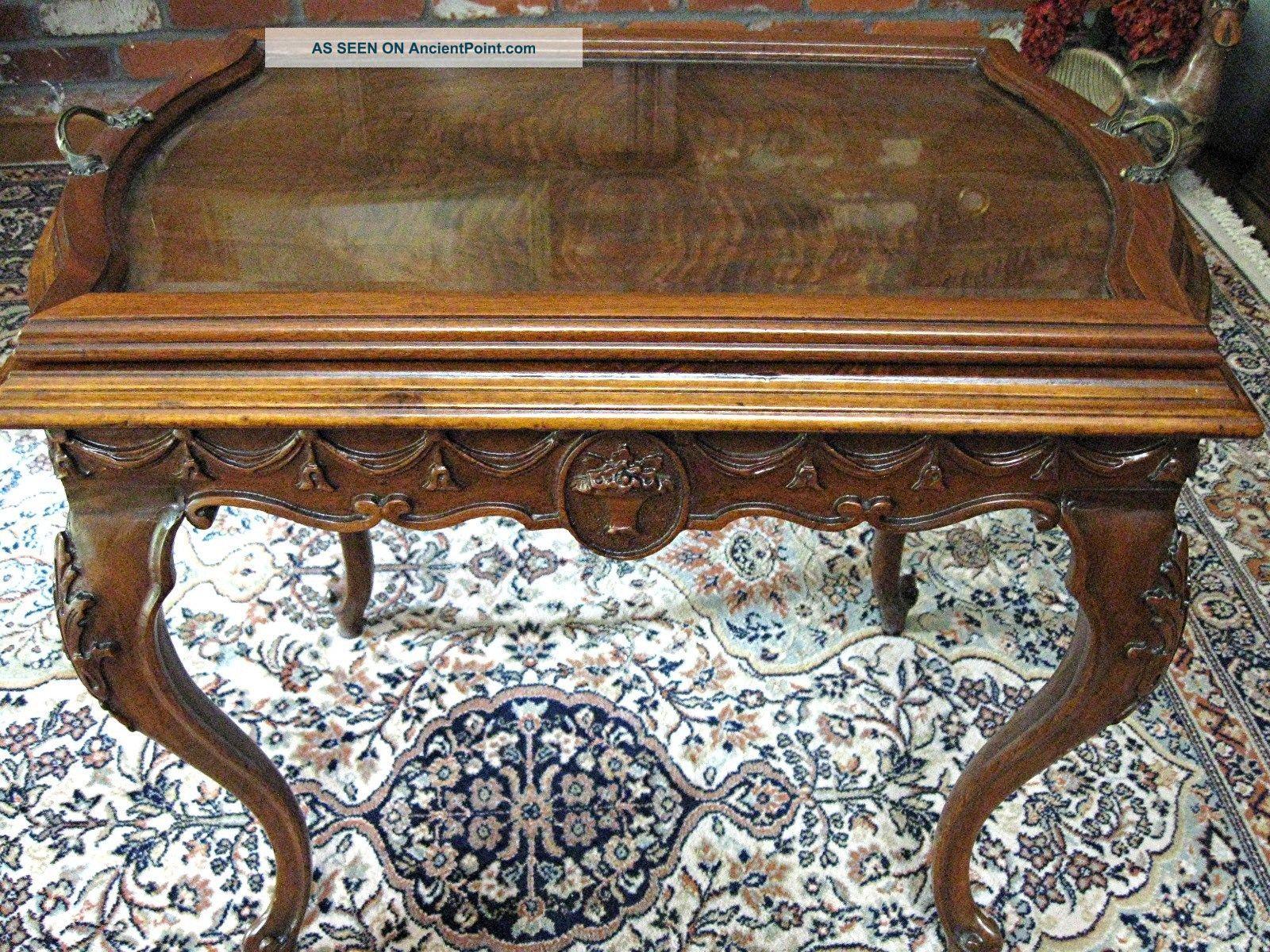 Antique Dark Walnut Queen Anne Style Coffee / Tray Table. . . Unknown photo