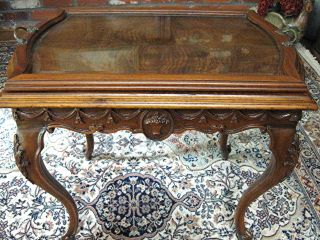 Antique Dark Walnut Queen Anne Style Coffee / Tray Table. . . photo