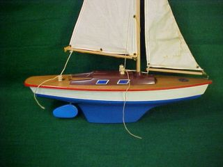 Old Vintage Pond Sail Boat Named Seifert Boat Made In Germany By Schutzmarke Nr photo