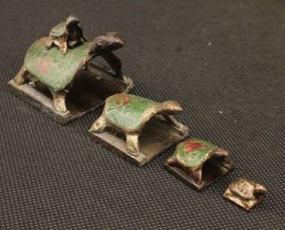 Amazing Decorated Handwork Old Bronze Carved 5 Turtles Shape Seal Statue photo