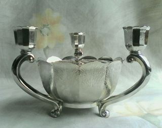 Vtg Italy Leonard Silver Plate Lotus 3 Footed Candle & Potpourri/flower Holder photo
