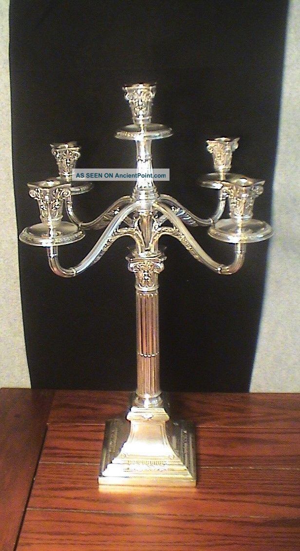 "Antique Solid Silver 5 Light Candelabra 22"" Wilhelm Binder Germany Germany photo"