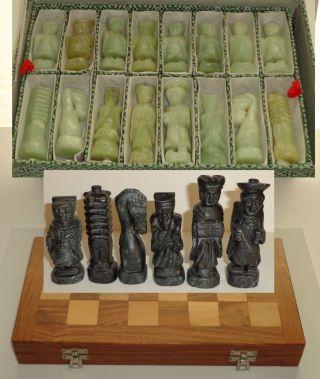 Vintage Korean Alabaster Serpentine Figural Chess Set Hand Carved Stone 32 Board photo