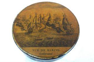 Antique Napoleonic War Combat Naval Ship Snuff Box Vue De Marine Ca 1810 French photo