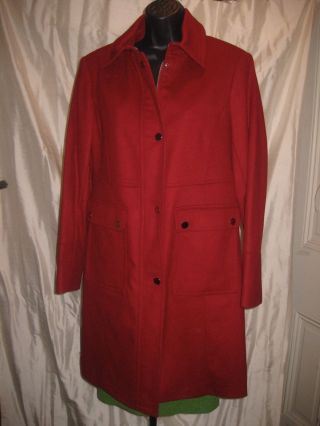 Talbots Red Wool Car Coat,  12 Petite Nwot photo